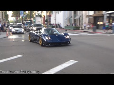Pagani INVASION in Beverly Hills - RUF CTR3 Clubsport