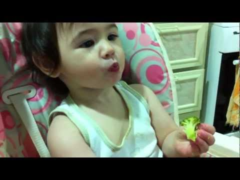Baby Danie Eating Broccoli ( June 17, 2011 - 1 year & 5 mos OLD )