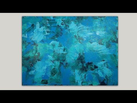 Abstract Acrylic Painting / Aqua Blue & Green Hues / Relaxing Painting Demo