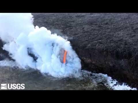 Lava firehose pouring from Hawaii's Kilauea Volcano