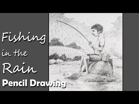 Memory Drawing | Fishing in the Rain step by step Pencil Drawing