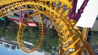 Boomerang front seat on-ride HD POV Elitch Gardens