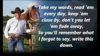 George Strait Write This Down with Lyrics