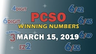P49M Jackpot Ultra Lotto 6/58, EZ2, Suertres, 4 Digit, and Megalotto 6/45 Draw | March 15, 2019