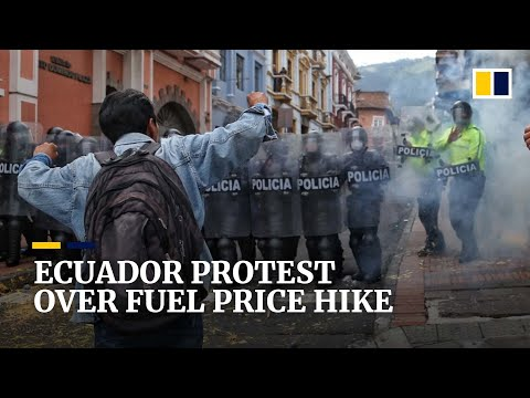 Demonstrators clash with police in Ecuador during protest over fuel price hike