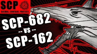 SCP-162 vs SCP-682 illustrated. Ball of Sharp vs The Hard to Destroy Reptile.