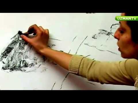 Karakalem Manzara Resminde Dağ Çizme