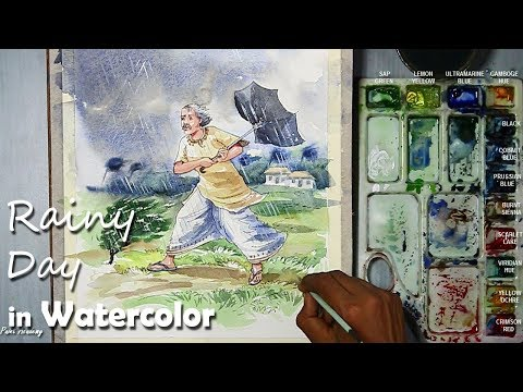 Rainy Day : A Composition on Watercolor | step by step drawing & painting