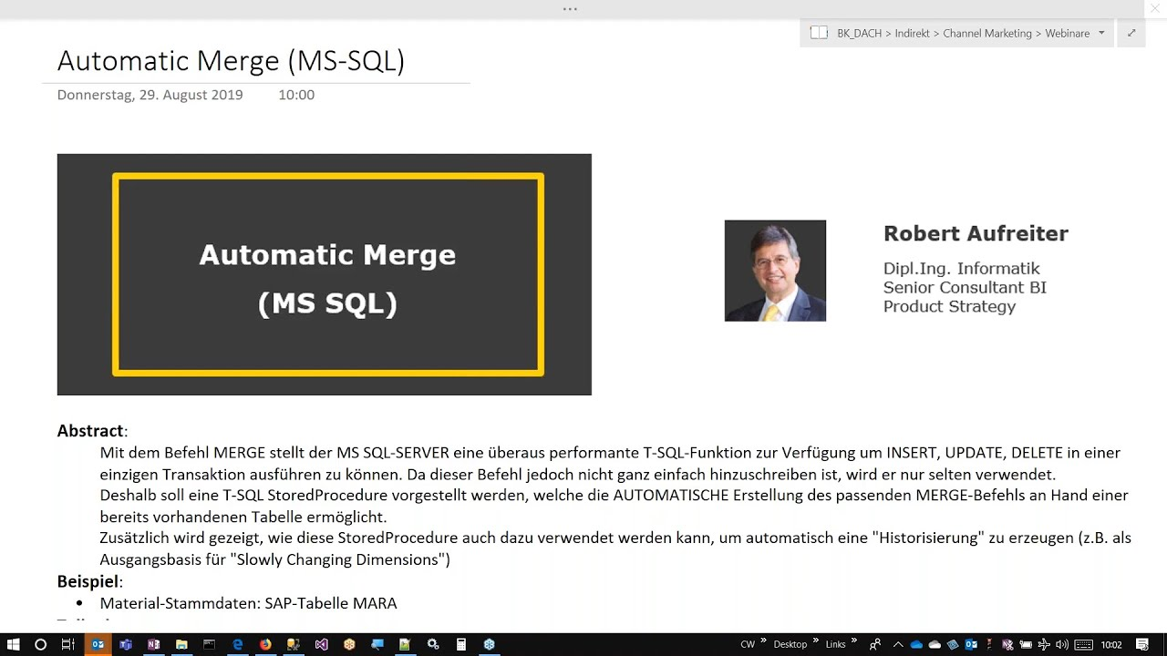 Automatic Merge (MS SQL)