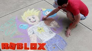 Roblox Gamer Chad MeepCity Chalk Art