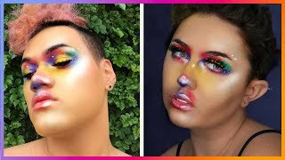 I RECREATE MY FOLLOWERS MAKEUP! 😱🦄 RAINBOW ABSTRACT LOOK!!  🌈☀️