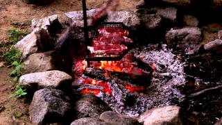 Grilling Steaks Over Wood Fire - Time Lapse
