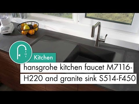 hansgrohe Kitchen mixer M7116 H220  & Granite Sink S514 F450 with drainer stone grey
