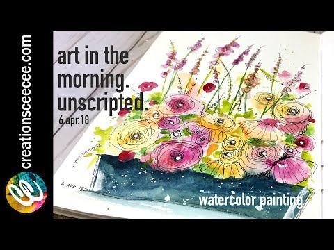 how to watercolor and doodle an easy floral arrangement