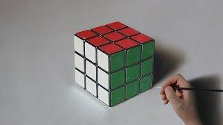 Rubik's Cube | Oil Painting on canvas - 3D Art