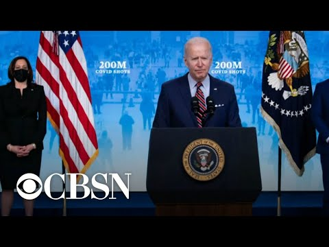 President Biden says the country has reached goal of administering 200 million vaccine doses