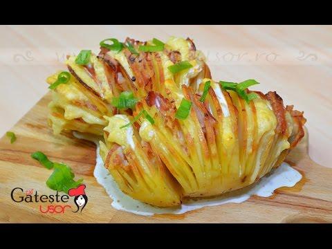 Reteta de Cartofi Acordeon cu Cascaval si Bacon