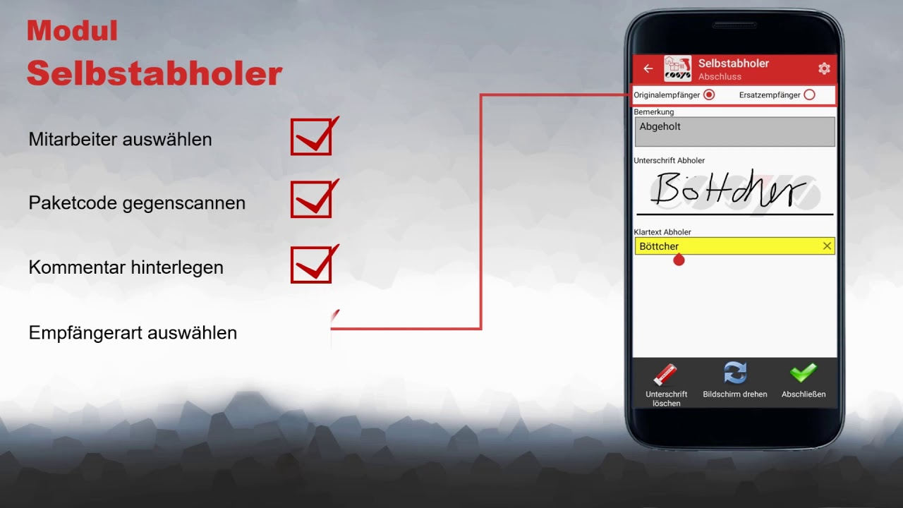 Paket Selbstabholung von der Hauspost | COSYS Hauspostverteilung App