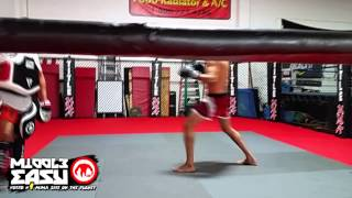 Gilbert Melendez hits pads in preparation of UFC 181