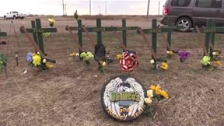 Humboldt Broncos bus crash scene revisited one month later