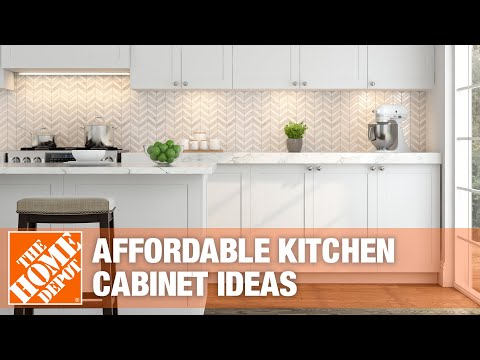 A video highlighting affordable ideas for kitchen cabinets.