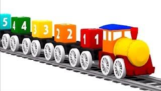 🚗 4 CARROS coloridos!🚄 Um TREM🎨  As cores para crianças.Desenhos animados de carros