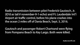 Audio: Radio transmission between small plane and control tower before plane crashes