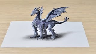 Как нарисовать дракона 3D / How to draw a dragon-3D dragon drawing - 3D Trick Art