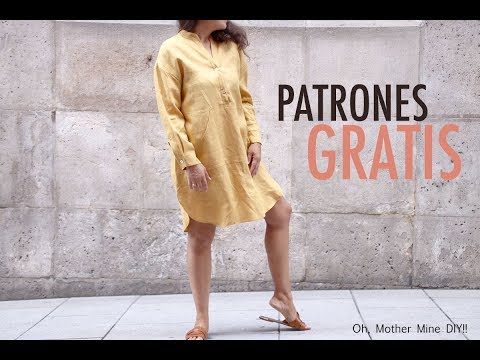 Patrones gratis: vestido camisero para mujer (varias tallas)