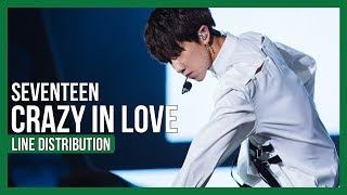 SEVENTEEN - CRAZY IN LOVE Line Distribution (Color Coded)