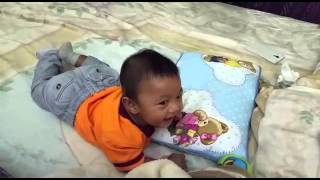 Baby funny and Laughing frightened by Tiger sound