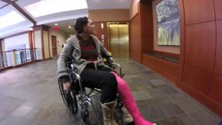 Her broken leg in the hospital