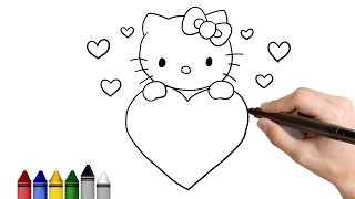 How to Draw Hello Kitty for Valentine's day ★  Drawing for kids Tutorial - Art Lessons | KidsAtWork
