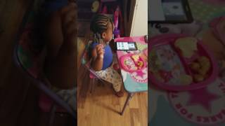 2 year old twin girl dancing to Tucka Candyland
