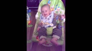 Baby laughing at 'no pukey'
