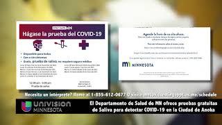 MDH ofrece pruebas gratuitas de Saliva para detectar COVID-19 en la Ciudad de Anoka