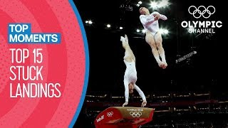 Best Stuck Landings in Women's Artistic Gymnastics at the Olympics   Top Moments