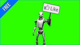Robô com Placa de Like #1 - Robot with Like Sign #1 [Fundo Verde - Green Screen]