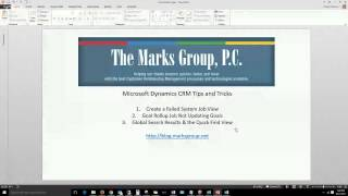 MS Dynamics CRM Tips and Tricks - October 2015