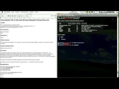 Oracle MySQL UDF for Microsoft Windows Metasploit Payload Execution