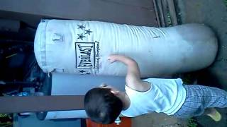 MMA baby: 2 year old baby punching bag