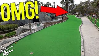 LUCKY MINI GOLF HOLE IN ONE AND CRAZY HOLES AT THIS AWESOME MINI GOLF COURSE!