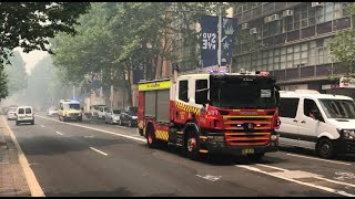 MULTIPLE FRNSW and NSW Ambulance Responding to MULTIPLE INCIDENTS in BUSHFIRE HAZE in Sydney CBD!