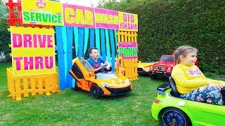 Ali and his little sister Pretend Play Car Wash and Ride on Power wheels for KidS
