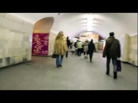 Leaving the subway in Kiev, Ukraine