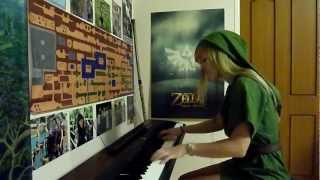 Lara plays the Temple theme from Zelda 2