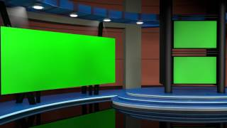 News Virtual Studio - Set 001 - Blue Option   GREEN SCREEN TV