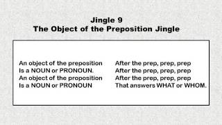 Jingle 9 - The Object of the Preposition Jingle - 1st thru 8th Grade