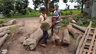 $150 Teak, Quality, Crooked Wood Cutting at Rural Sawmill।Wood Cutting Logging Mill in Village