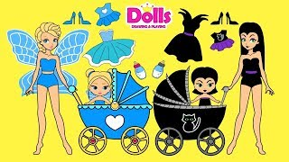 PAPER DOLLS FAIRY & WITCH MOTHER & DAUGHTERS DRESS UP PAPERCRAFTS